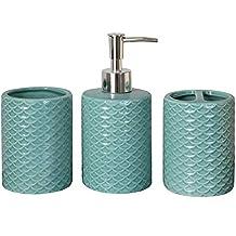 Juego de baño Hanneke Aqua Turquesa Verde dispensador de jabón Portacepillos Pescado