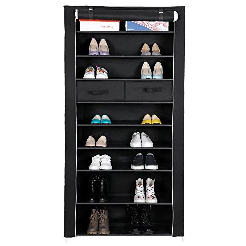 SONGMICS Schuhregal XXL 10 Schicht 2 Aufbewahrungsboxen staubdichtes Schuhschrank für ca. 40 Paar Schuhe Schwarz 88 x 175 x 28 cm RXA10H 2