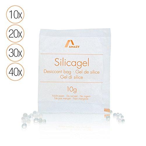 Amazy Silica Gel Beutel (20 x 10 g) - Vakuumverpacktes Kieselgel als Trockenmittel (regenerierbar) für Das Binden von Feuchtigkeit - schützt Ihre Gegenstände vor Feuchte und Muff (Große Ziploc Taschen)