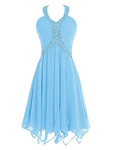 Find Dress Femme Sexy Robe Demoiselle d'Honneur Robe pour Soirée/Cocktail/Cérémonie Bustier Courte en Mousseline de Soie avec Sequins Bleu
