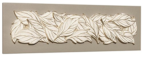 pintdecor-foglie-destate-quadro-legno-tela-resina-bianco-160-x-50-cm