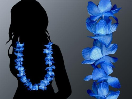 24 Pièces Hawaii collier bleu avec blanc collier fleur 06