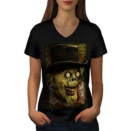 Gentleman Tot Mann Zombie Monster Hut Damen M V-Ausschnitt T-shirt | (Toten Gentleman Der Maske Tag)