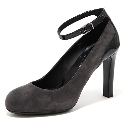 80264 decollete TOD'S suola GOMMA grigia scarpa donna shoes women Nero/Grigio