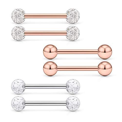 VFUN 14G 14mm Glitter Kristal Kugel Nippel Zunge Piercing Ringe Körperschmuck Piercing Retainer Bioflex Piercing 6 Stück - Rose Gold
