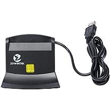 Zoweetek® Lector de DNI Electrónico multifunción Para Todo Tipo de Tarjeta de Apoyo ,Color Negro