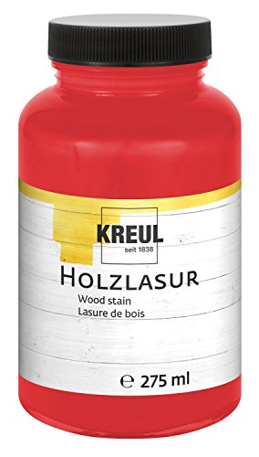 Kreul 78206 - Farbintensive Acryl Holzlasur, für unbehandeltes, natürliches Holz und saugende Naturpapiere, fließend - flüssige Farbe auf Wasserbasis, 275 ml Kunststoffglas, cherry -