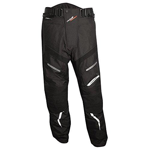 *Schwarze Motorradhose mit herausnehmbarem Thermofutter, Protektoren, Reflektoren, Rindslederapplikationen, und Weitenverstellung für Sommer und Winter*