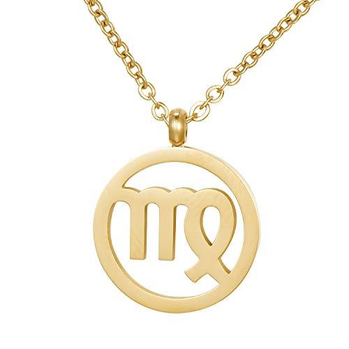 Morella Collar Acero Inoxidable Oro con Colgante Signo del Zodiaco Virgo en Bolsa de Terciopelo
