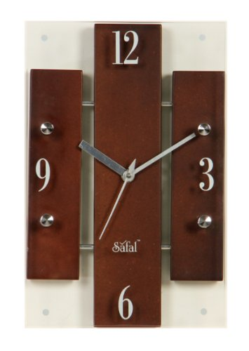Safal Wooden Wall Clock (17.78 cm x 27.94 cm, Brown)