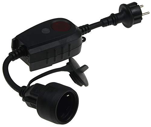Zwischenstecker mit IP44 Steckdose Dämmerungs-Schalter für Außen I Timer für 1 bis 9 Std. I 230V Tag Nacht Erkennung I Für Aussen-Beleuchtung Lampen Leuchten Schwarz