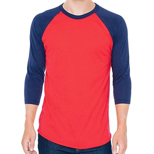american-apparel-poly-cotone-3-4-manica-raglan-maglietta-red-navy-l-10668-11176-cm