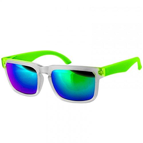 CASPAR PREMIUM Unisex Wayfarer Brille / Sonnenbrille mit gefrostetem Rahmen - viele Farben - SG018, Farbe:grün / grün verspiegelt