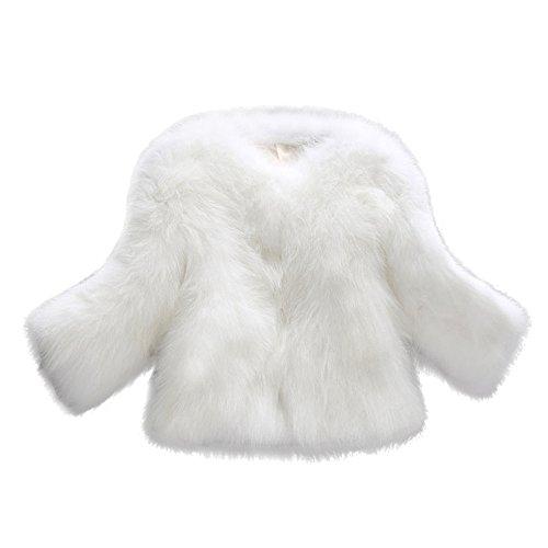 Damen Herbst und Winterjacke Honestyi Frauen Faux Pelz weiche Pelz Mantel Jacken flaumige Winter Weste Oberbekleidung(Weiß,L)