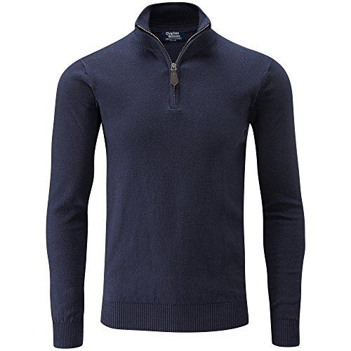 Charles Wilson Feinstrick Pullover mit Hals-Reißverschluss (XX-Large, Dunkles Marineblau) Sweatshirt Hals