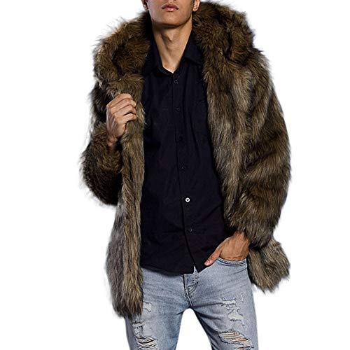 Herren Leopard Warm Pelzkragen Mantel Jacke Faux Fur Parka Khaki Outwear Strickjacke Mantel - Mantel Union Armee Der