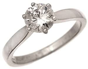 Sophisticated 18 ct White Gold Ladies Solitaire Engagement Diamond Ring Brilliant Cut 1.00 Carat I-SI1 Size J