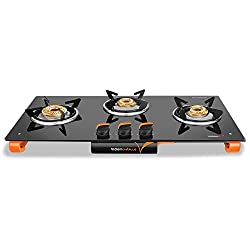 Vidiem Glass 3 Burner Gas Stove, Black (VDM_AIR Plus 3 B_BLK)