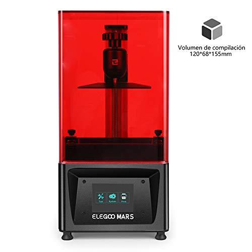 """ELEGOO MARS Impresora 3D UV Fotocurado con 3.5"""" Pantalla Táctil Inteligente de Color Impresión Fuera de Línea 120mm(L) x 68mm(W) x 155mm(H) Tamaño de Impresión-Negro"""