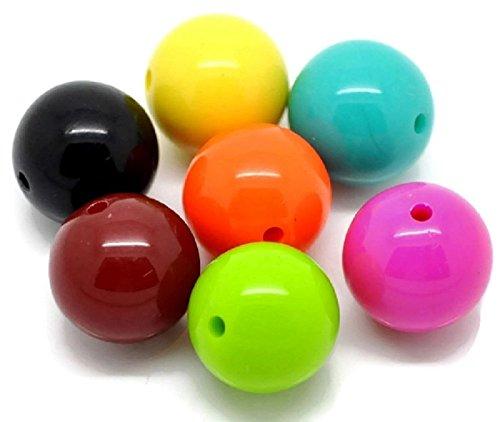 SiAura Material 10 Stück Acrylperlen 20mm mit 2,8mm Loch, Rund, Mix Bunt zum Basteln und Auffädeln