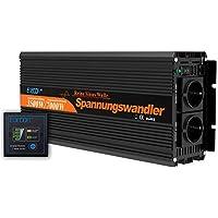 EDECOA Inversor ONDA PURA Convertidor 12v 220v 3500w con Mando a distancia 2 USB Transformador 12v 230v 3500w onda pura y pico momentaneo de 7000w