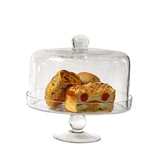 SZQ-Kuchenstand Glastortenständer, Dessertbrotkuppel Hochtransparentes Tablett Mit Deckel Haushaltstablett Kaffeestube Ausstellungsstand 25,5 * 25,5 * 27 cm Käseplattenabdeckungen