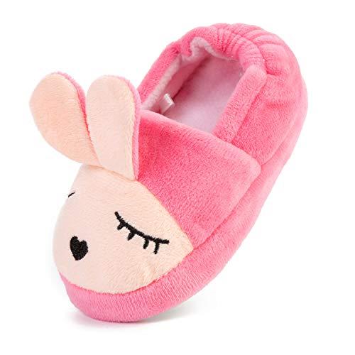 L-RUN Cute Bunny Memory Foam Slide Hausschuhe Anti Slip Fluffy Haus Socken Häschen/Pink