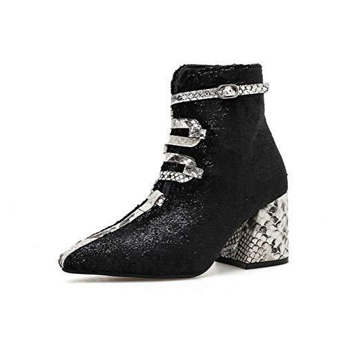 WIEIS Frauen Schnalle Pfennigabsatz Ankle Booties Schlangenhaut Muster Booties Wies Dicke High Heel Martin Stiefel,Schwarz,5 - Stiefel 5 Schnalle, Pfennigabsatz