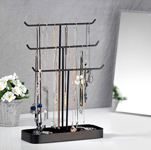 JackCubeDesign Metall 3 Tier Schmuckständer Baum Veranstalter Armband Halskette Halter Rack Hanger Tower mit Ohrring Ring Tray Storage Tabletop (Schwarz, 30,7 x 10,4 x 40,8 cm) -: MK320D -