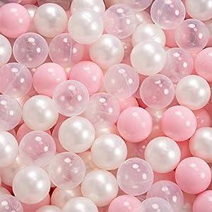 KiddyMoon 90X30cm/200 Palline ∅ 7CM Piscina di Palline Colorate per Bambini Tondo Fabbricato in EU, Rosa: Rosa Ch/Perla/Trasparente
