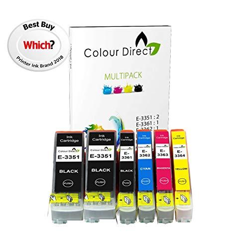 Colour Direct - 1 Impostato + 1 Extra Nero - 33XL Compatibile Inchiostro Cartuccias Sostituzione Per Epson XP-530 XP-630 XP-635 XP-830 Stampantes. Sostituisce Arancia series . 2 X 3351 1 X 3361 1 X 3362 1 X 3363 1 X 3364