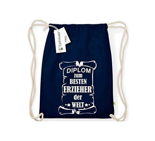 Shirtstown Organico Gymsac Diploma ad un migliore Erzieher mondo - Grigio Chiaro, One Size blu