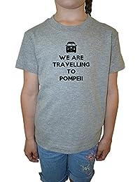 We Are Travelling To Pompeii Niña Niños Camiseta Cuello Redondo Gris Algodón Manga Corta Girls Kids T-shirt Grey