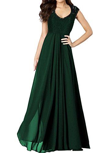 Miusol Damen Aermellos V-Ausschnitt Spitzenkleid Brautjungfer Cocktailkleid Chiffon Faltenrock Langes Kleid Gruen Groesse 40/M