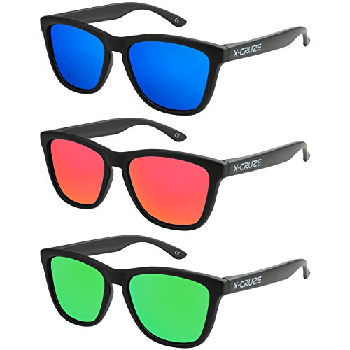 Kostüm Vintage Pilot - X-CRUZE 3er Pack X0 Nerd Sonnenbrillen polarisierend Vintage Retro Style Stil Unisex Herren Damen Männer Frauen Brillen Nerdbrille Nerdbrillen - schwarz matt LW - Set H -