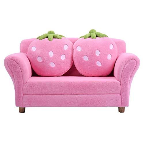 Costway poltrona per bambini, divano letto per bambini, in velluto corallo con 2 cuscini, 90 x 54,8 x 48 cm (rosa)