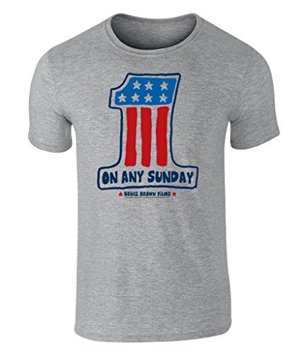 On Any Sunday, Teufelskerle auf heißen Feuerstühlen, One Flag, USA Flagge, Amerika Flag Grafik Herren T-Shirt, offiziell lizenziert von Bruce Brown Films, Grau, Large