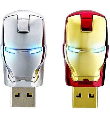 4GB 8GB 16GB 32GB 64GB USB Flash Drive Marvel Avengers Iron Man mit LED-Licht Marke neue gold 32 GB