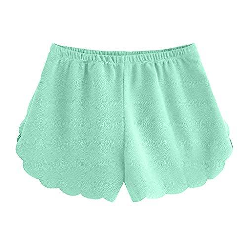 KUDICO Damen Shorts Mode Spitze Yoga Sporthosen Sommerhosen High Waist Kordelzug Kurze Hose mit Taillenband Elegant Hotpants Strandshorts(Minzgrün, S) (Fit-yoga-hosen Relaxed)