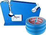 Beutel-Verschließer Beutelverschlussmaschine mit Schneidevorrichtung inkl. 3 Marken Beutel-Verschlussrollen blau