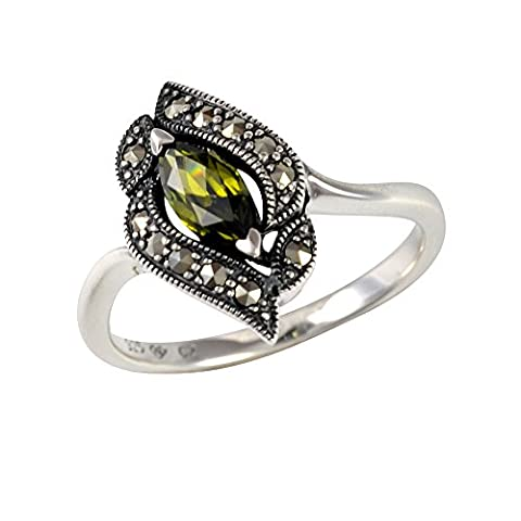 Esse Marcasite Sterling Silver Marquise Cut Olive Cubic Zirconia Leaf Motif Ring - Size L