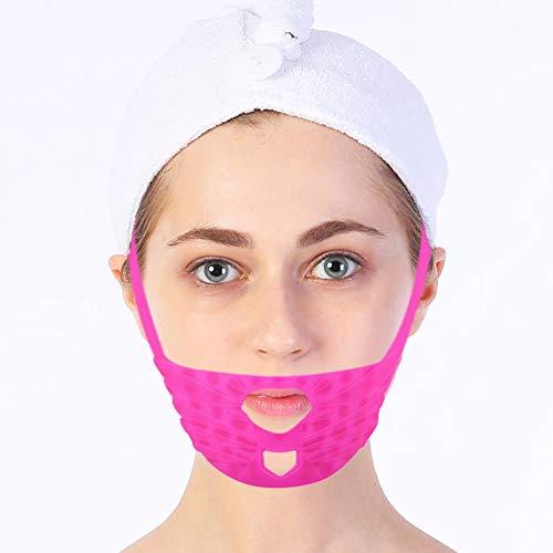 Facial Adelgazante Máscara Adelgazar Cara reafirmante Piel de silicona para rostro de masaje V línea mascarilla compresiva de cuello doble cambio de máscara de doble cadena para reducir arrugas