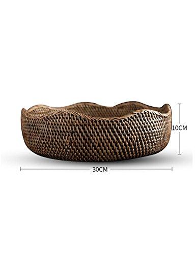 JIANFEI Assiette de fruits Salon européen Creative Dried Fruit Plate Rattan Fruit Basket (Couleur : Marron, taille : 30*10cm)