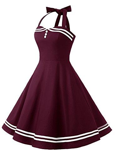 Timormode Rockabilly Kleider Neckholder 50s Vintage Kleid Retro Knielang Kleider Damenkleider Festlich Cocktailkleider Burgundy