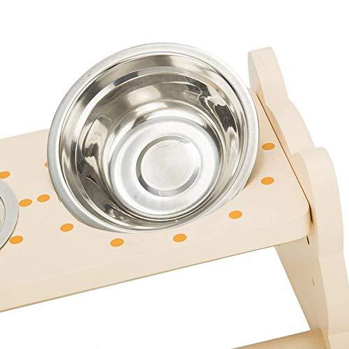 WOQUXIA SONGNIANXIA Edelstahl Haustier Hund Futternäpfe Doppel Schüssel Massivholz Essteller mit Katze Frosch Formen für Haustier Hund -