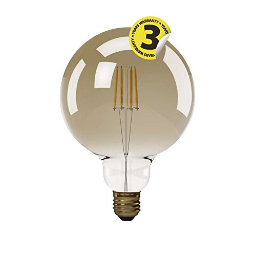 EMOS LED-G125-PFV-4W-E27-WW A+, LED Glühlampe Vintage G125 4W E27 warm weiß+, Glas, 4 watts, E27, Transparent, 12, 5 x 18 cm
