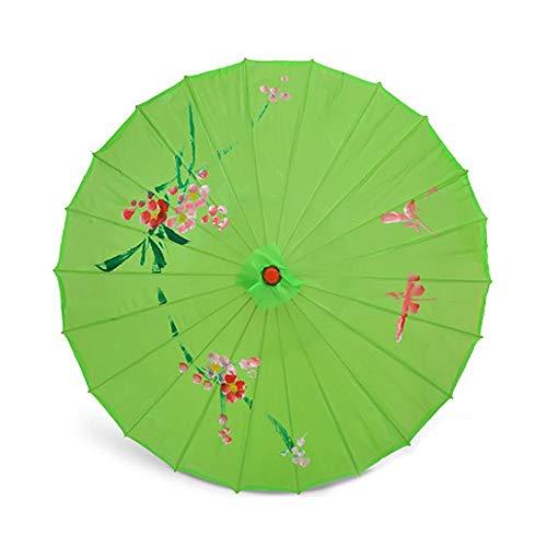 Tanz Kostüm Regenschirm - ZJPP Kostüm-Tanzen-Regenschirm, Tanz-Regenschirm, Handwerks-Regenschirm-Öl-Papierregenschirm-dekorativer Regenschirm, Klassische Blume,Green