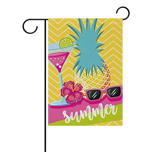 ASKYE Garden Flag Decorative Summer Cocktail Pineapple Sunglasses Polyester Double Sided Printed for Outdoor Courtyards(Size: 12.5inch W X 18 inch H) - Monogram Cocktail