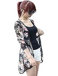 df3a254ce462 Manteau Femme Koly Femmes Casual Floral Cardigan ChâLe Gauze Tops Coat  Blouse Kimono Femme Gilet