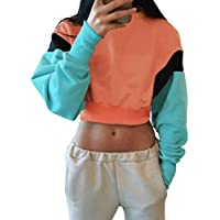 Damen Sweatshirt,Geili Frauen Langarm Color Block Crop Tunika Oberteile Top Bluse Hemd Tops Damen Mode Patchwork... preisvergleich bei billige-tabletten.eu